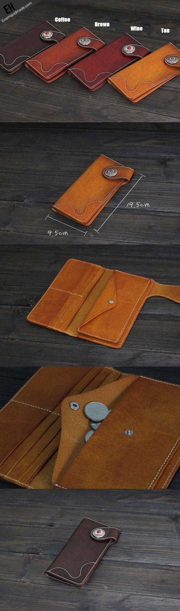 Handmade Men long leather wallet men vintage tan brown coffee wine wallet for him
