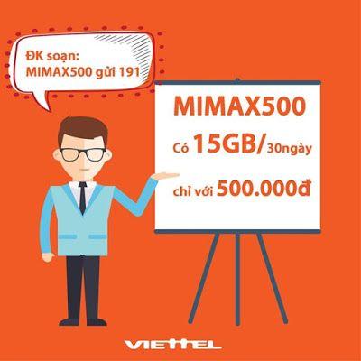 Đăng ký gói 3G Mimax500 Viettel trọn gói