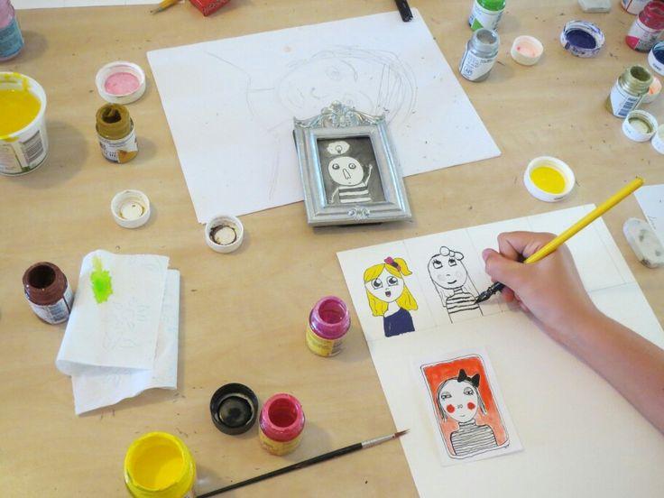 Workshop portretjes in ons atelier www.atelierdeluxe.nl