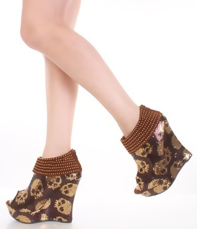Brown Sequins Skulls Studded Open Toe Platform Wedge Bootie