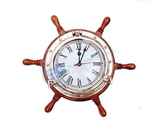 """Deluxe 13"""" Nautical Ship Wheel With Full Size Solid Brass... http://www.amazon.com/dp/B01FJHJ4LE/ref=cm_sw_r_pi_dp_OVEoxb0WJ4C39"""