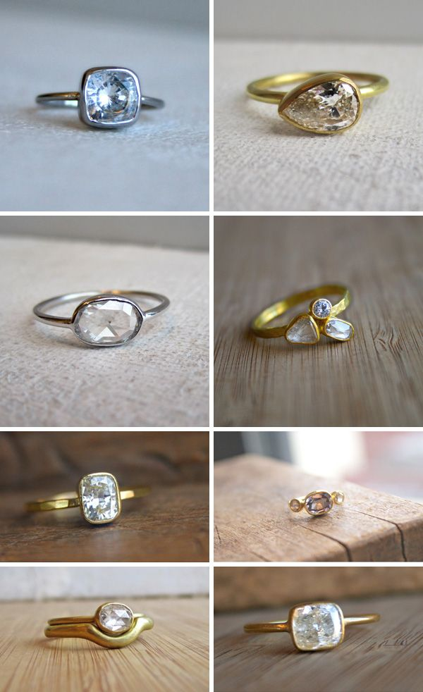These rings by Sarah Perlis are perfect. Bottom right corner is everything I dream of in an engagement ring. :)