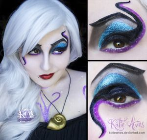 Here's my Ursula Cosplay makeup! I cosplayed as her this weekend for Fan Expo. This was my first cosplay and oh my god I loved it. I had the full tentacle dress (pictures of that will be coming, just trying to find the billion pictures that everyone took!) as well as Flotsam and Jetsam swimming around the dress. I made the necklace and earrings (which you can't see, but i'll be posting pictures of that too.) It's a little hard to see, but my entire upper body is COVERED in glitter... and I…