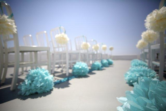White and Tiffany blue poms poms by Martha Stewart