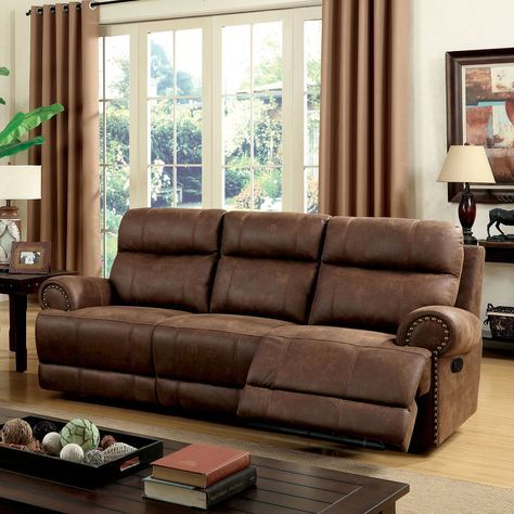 Furniture of America Langly Classic Fabric-like Vinyl Reclining Sofa