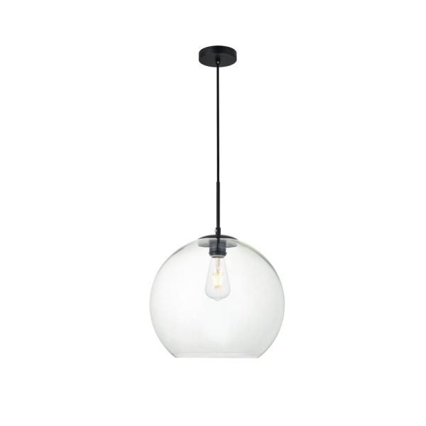 Unbranded Timeless Home Blake 1 Light Black Pendant With Clear Glass Shade Lvn4432black The Home Depot In 2020 Hanging Pendant Lamp Elegant Lighting Glass Shades