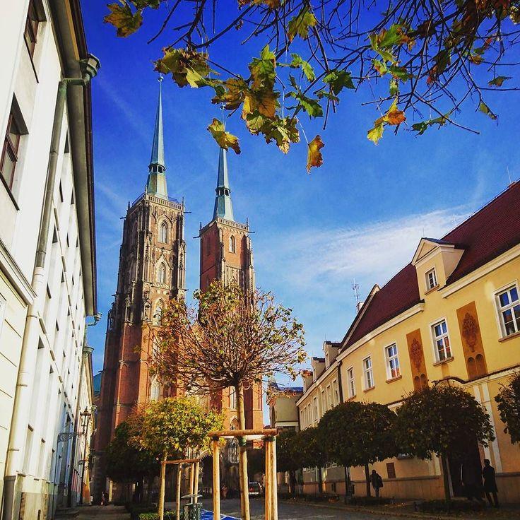 Jeszcze wczoraj było tak!  ____________ #docelowo #wrocław #wroclaw #wroclove #staremiasto #ostrówtumski #oldtown #sunny #sunnyday #saturday #weekend #autumn #fall #october #tourist #travel #jesień #jesien #październik #piątek #visitwroclaw #instamood #instagood #cathedral #church #bluesky