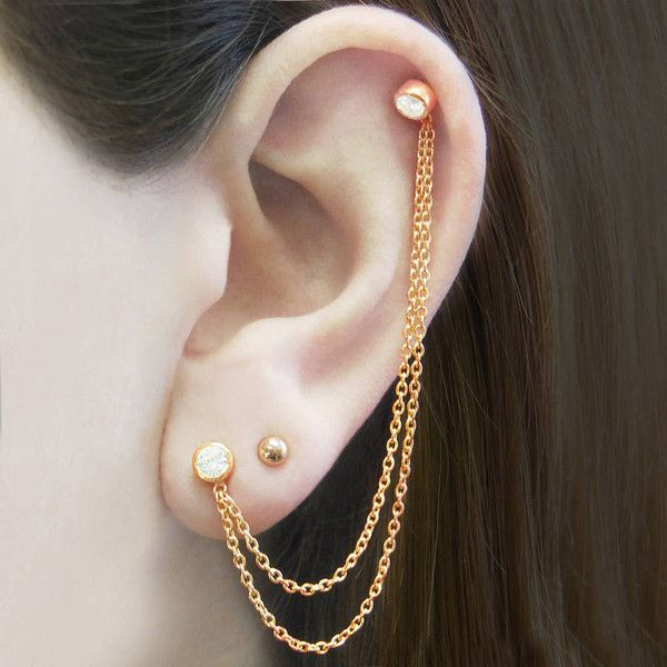 Embers Gemstone Jewellery Rose Gold Chain White Topaz Gemstone Ear... ($23) ❤ liked on Polyvore featuring jewelry, earrings, stud earrings, rose gold earrings, topaz earrings, 18 karat gold earrings and earring ear cuff