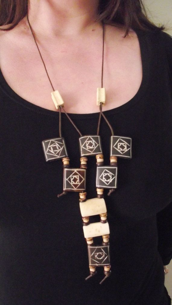 Bone Bib Necklace by MaryLooGifts on Etsy