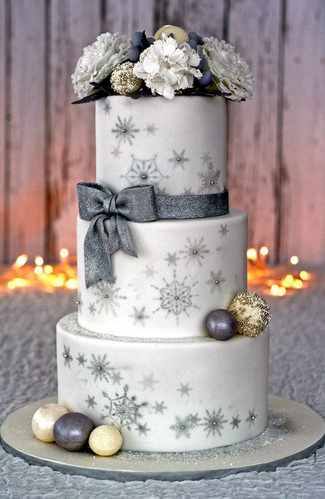 Winter Wonderland Wedding Cake (& peony tutorial) - by Shawna @ CakesDecor.com - cake decorating website
