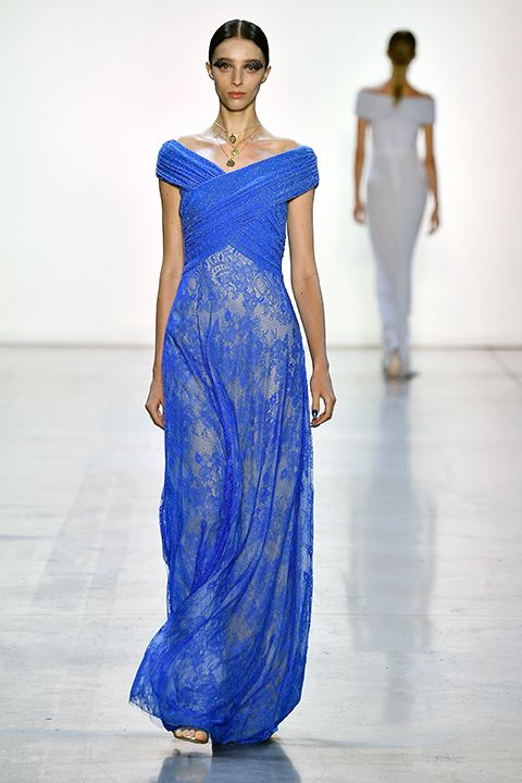 bd9eb2361645 COSMIC BLUE LACE AND GLITTER LUREX DRAPED JERSEY OFF-THE-SHOULDER GOWN