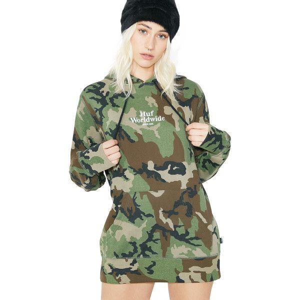 HUF Ambush Pullover Hoodie ($75) ❤ liked on Polyvore featuring tops, hoodies, kangaroo pocket hoodie, camouflage hoodies, pullover hoodie, graphic pullover hoodies and camo pullover hoodie