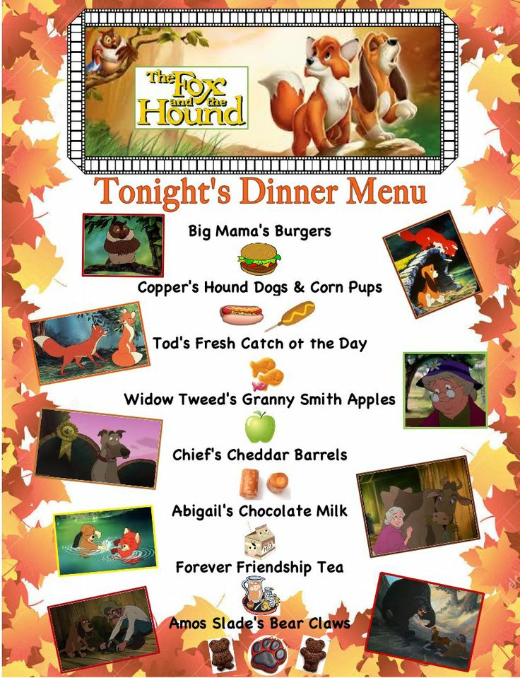 Our Fox and the Hound Dinner & a Movie Menu for October