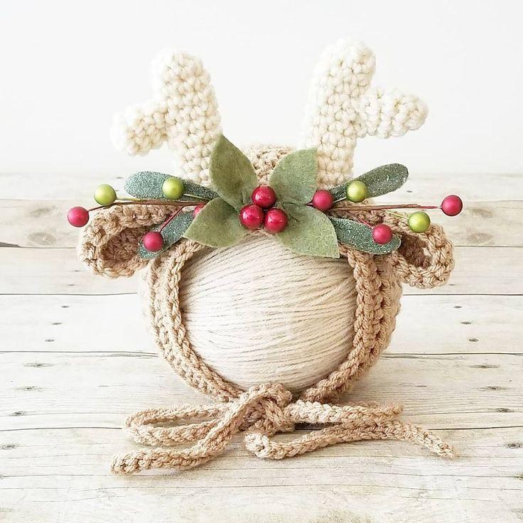 Crochet Reindeer Deer Blitzen Bonnet Hat Beanie Christmas Winter Accessory Newborn Baby Infant Toddler Child Handmade Baby Shower Gift Present