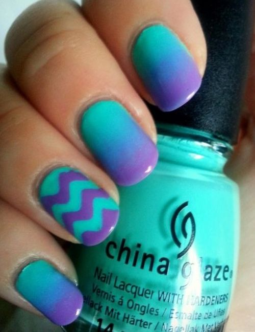 11. Best Purple and Turquoise Nail Art Design - 43 Ideas for Ombre…