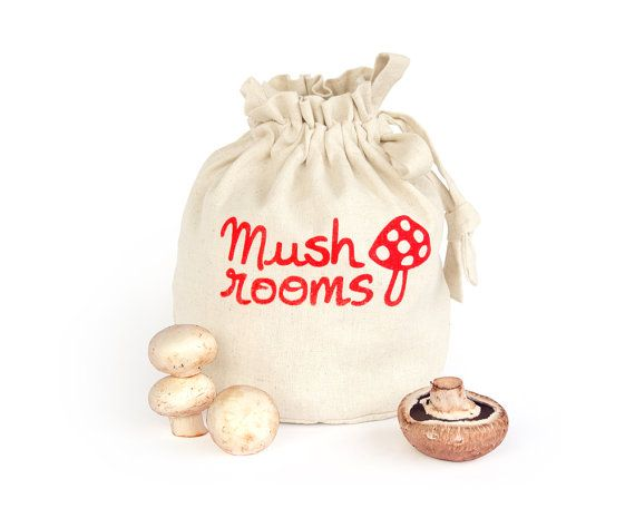 no more clammy mushrooms, fresh and guilt free produce storage for you! MUSHROOMS: Handmade reusable eco friendly by HarvestHaversack
