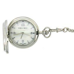 Colibri Pocket Watch Hunting Case Silver Tone Wood Inlay PWQ098100S