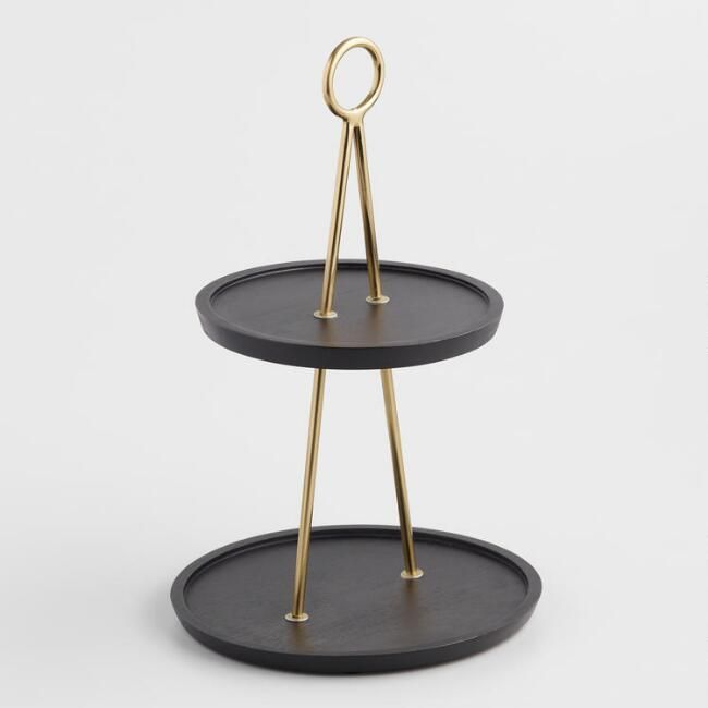 Black Mango Wood And Brass 2 Tier Beckett Serving Stand V2 Wood Tiered Stand Serving Stand Mango Wood