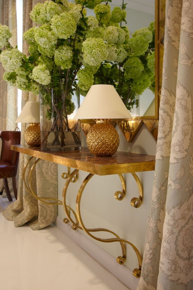 DETAILS - Using gold, mirror, and lighting for reflective effect. Great accent idea!