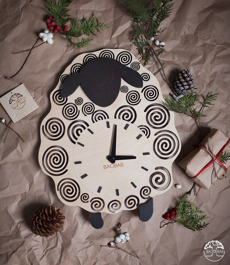 "Wooden wall clock ""Happy sheep"" by BAOBAB by Baobabwood on Etsy"