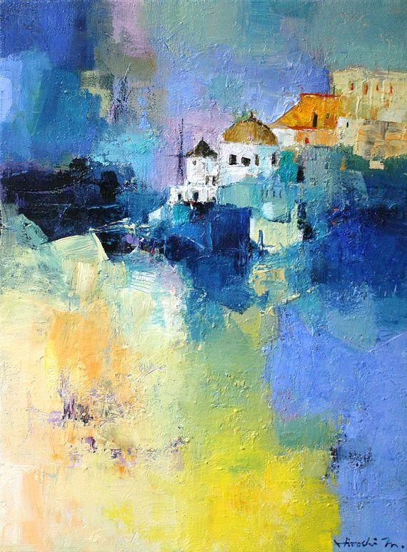 Oia Santorini Greece - Original Oil Painting  by Hiroshi Matsumoto