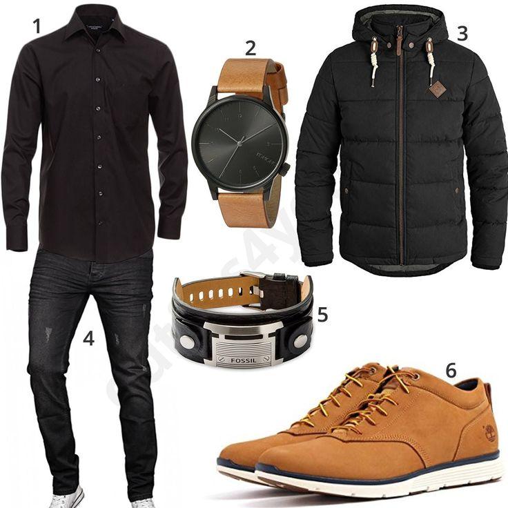 Kompletter Look mit schwarzem Casa Moda Hemd, Komono Armbanduhr, Solid Steppjacke, Fossil Lederarmband, A. Salvarini Designer-Jeans und Timberland Boo…