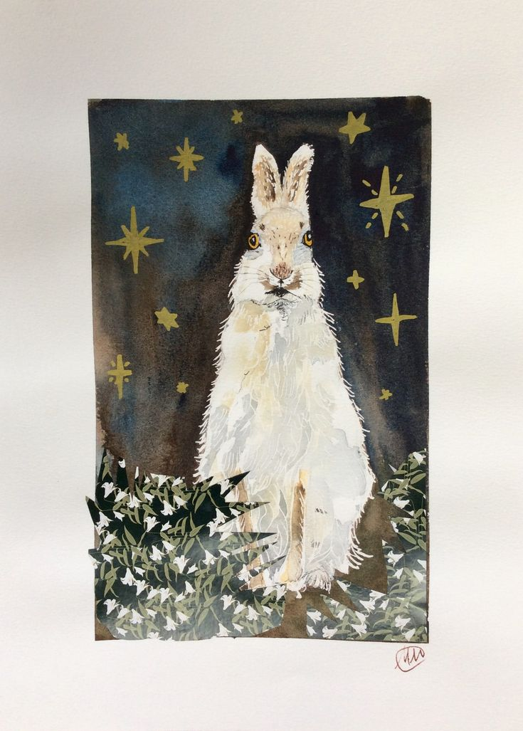 Festive hare. Watercolor and origami paper collage