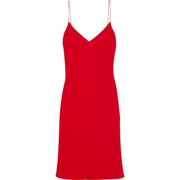 Calvin Klein Collection Hannelisa silk-chiffon mini dress found on Polyvore featuring dresses, vestidos, red, holiday dresses, short dresses, short evening dresses, special occasion dresses and short cocktail dresses