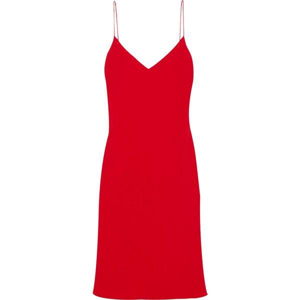 Calvin Klein Collection Hannelisa silk-chiffon mini dress (4,330 MYR) via Polyvore featuring dresses, red, red mini dress, red cocktail dress, mini dress, short dresses and cocktail dresses