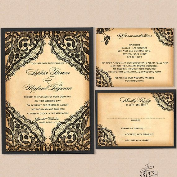 17 Best images about Nice day for a black white wedding on – Black Lace Wedding Invitations