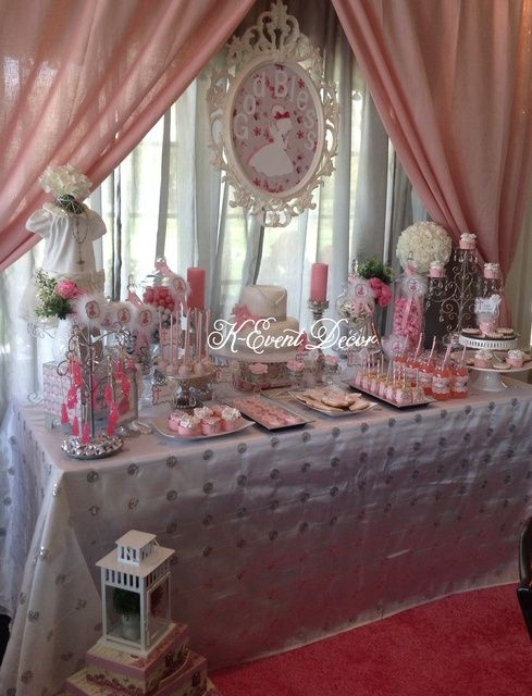 Dessert table at a 1st Communion Party! See more party ideas at CatchMyParty.com!