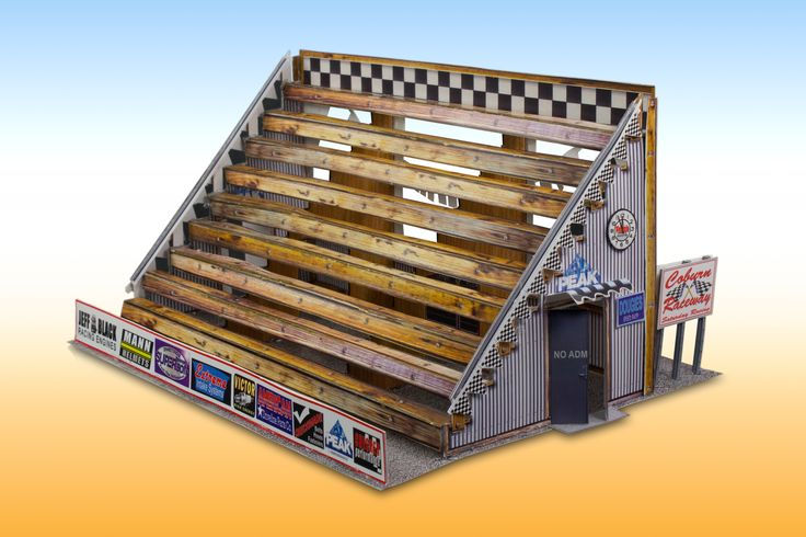 """""""Racetrack Bleachers"""" Photo Real Scale #Building Kit is a complete  scale model set of bleachers that comes ready to trim and assemble. Based on the use of real building materials photographed and printed, each Scale Building Kit looks amazingly realistic! Could be used as pitch scenery."""