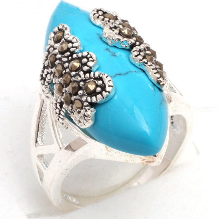 Vintage 925 Sterling Silver Blue Turquoise Gemstone Marcasite Ring Size 7/8/9/10