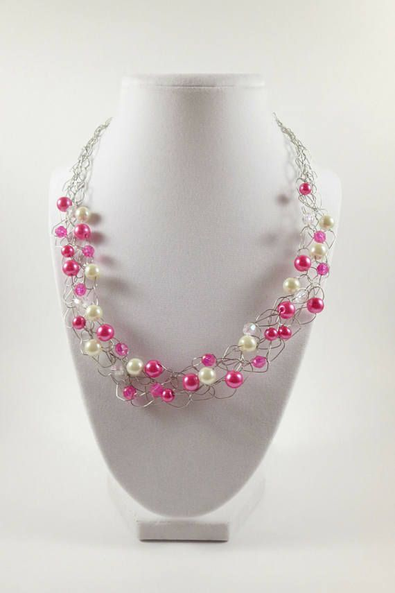 Pink Crochet Necklace Elegant Necklace For Women Bib