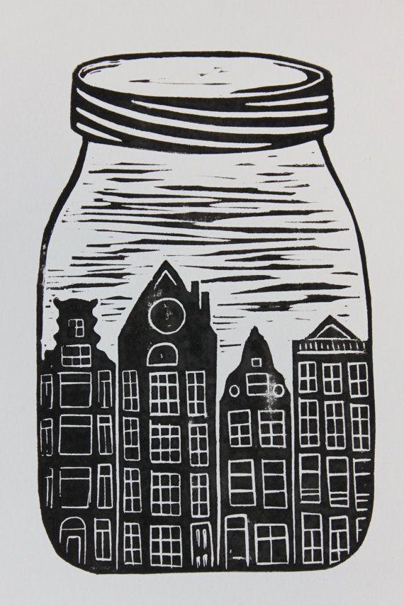 A5 Lino Print Mason Jar Amsterdam Houses Black and White