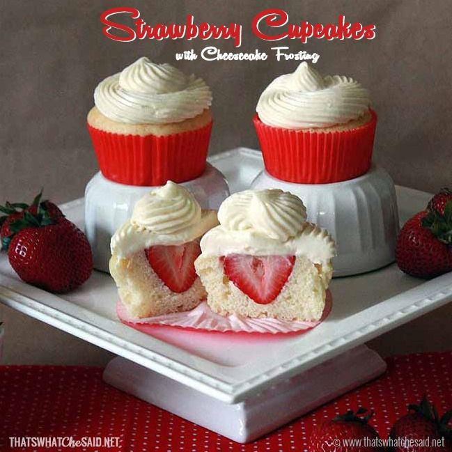 Recipe: Surprise Strawberry Cupcakes with Cheesecake Frosting - That's What Che Said