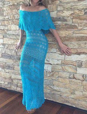 Vestido Casual Longo Tricot Crochê Ciganinha Ombro A Ombro Azul