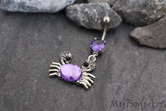 Crystallize Crabby Beach Dangle Belly Button Ring What is the size is this belly button ring? • 14 gauge (1.6mm): Curved Barbell in 316L Hypoallergenic Surgical Stainless Steel • 25mm(L)*30mm(W)*3mm(T