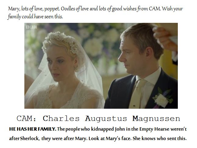 I agree with some comments I read from where I posted this...Magnussen didn't kid-nap her family, but possibly killed them. And, this is the reason why Mary was texted when John was taken, and not Sherlock. Unless.... Magnussen IS her father!! (too cliche?)