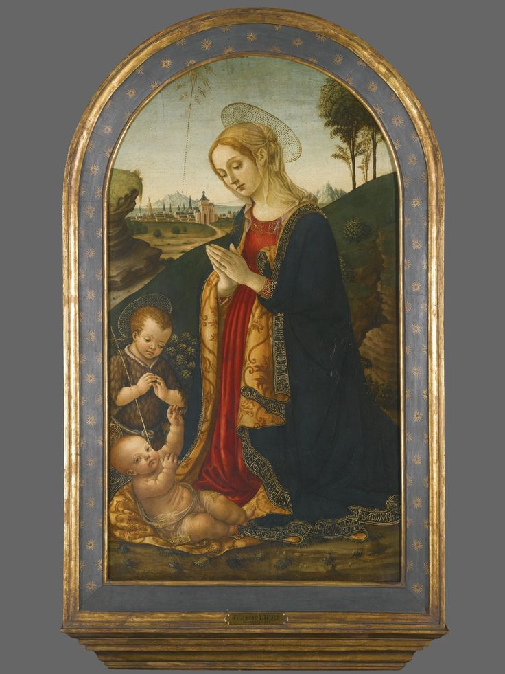 Francesco Botticini FLORENCE 1446 - 1497 THE MADONNA AND CHILD IN A LANDSCAPE, WITH THE INFANT SAINT JOHN THE BAPTIST tempera on panel, rounded top 94.3 by 54.5 cm.; 37 1/8  by 21 1/2  in.
