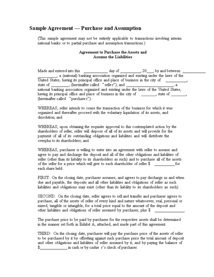 Sample Agreement u2014 Purchase And Assumption - 29 - sample stock purchase agreement