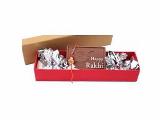 """Elongated box with 12 chocolates and """"Happy Rakhi"""" Chocolate Bar with Rakhi"""