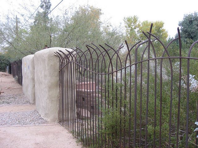 Curvy rebar fence. Neat!  Just the right mix of security and whimsy