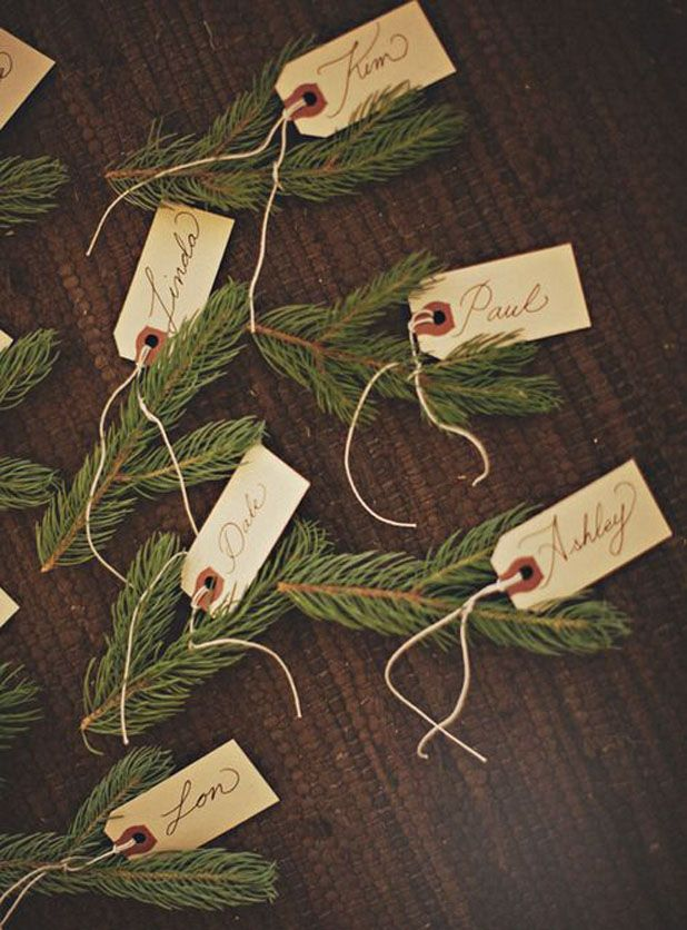 Simple and chic place cards for your next Holiday gathering.
