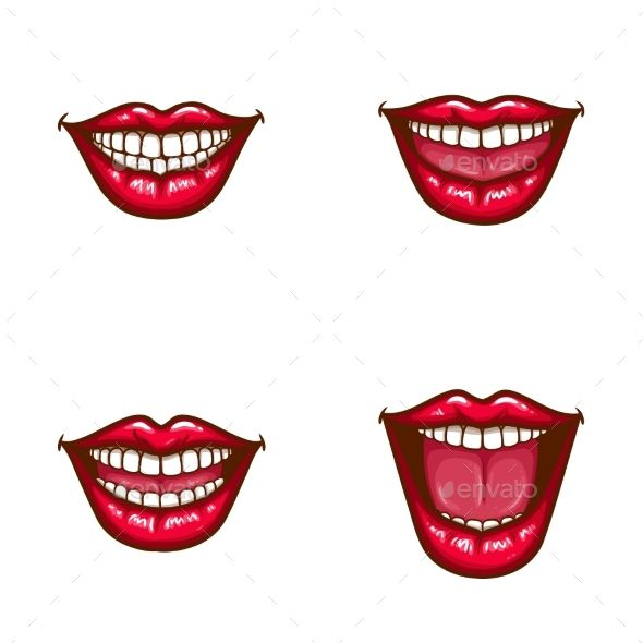 Set Of Vector Sexy Female Lips In Red Glossy Lipstick With White