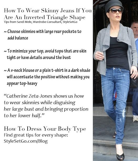 Tips for How To Wear Skinny Jeans if you are an Inverted Triangle Shape from StyleSetGo.com/blog
