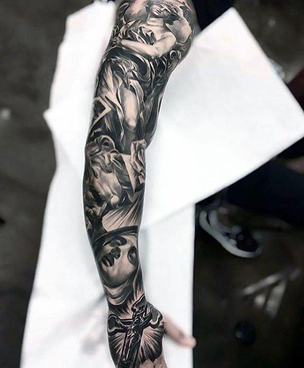 Unique Religious Mens Full Sleeve Tattoo With Cross Design
