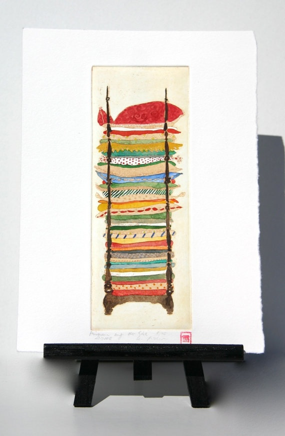 Princess and the Pea  Original Etching by freshandsilly on Etsy, $40.00
