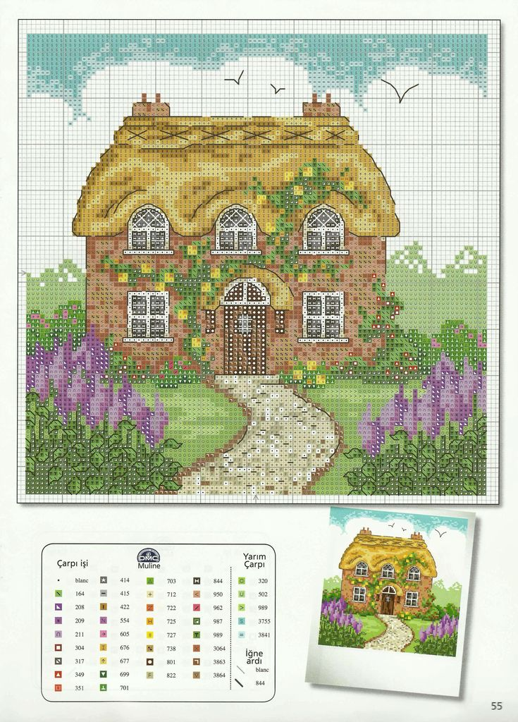 Country cottage, cross stitch embroider chart / pattern with DMC thread colour chart