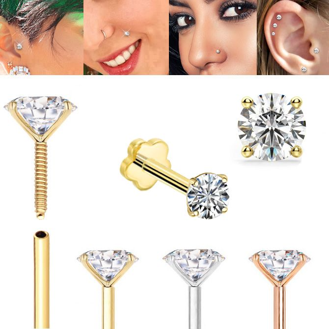 14K Gold Cartilage, Tragus, Helix, Monroe, Labret, Nose Stud / Earring - 18G Internally Threaded Anti-Slip Flat Back
